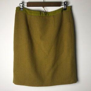 Boden mustard yellow green pencil skirt 8